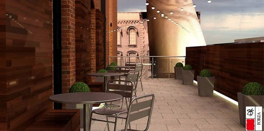 Rendering for The Skybox outdoor terrace.
