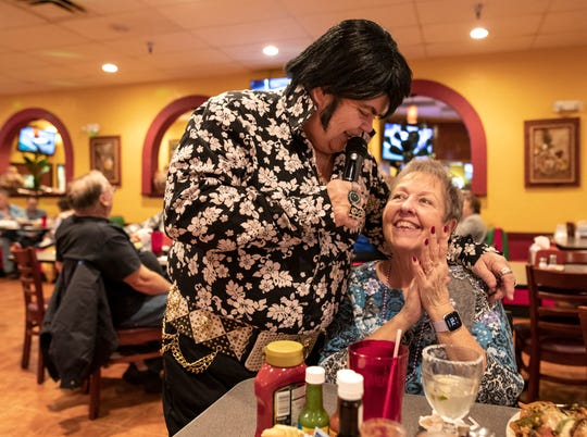 """Lil'D"" performs as young Elvis at El Nopal Restaurant. Feb. 17, 2020"