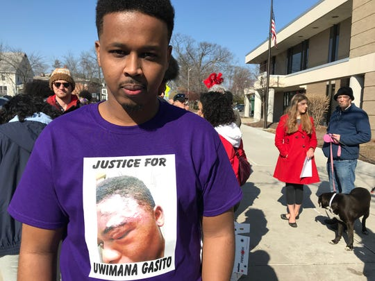 "Farhan Sheikh-Omar organized the ""Justice for Uwimana Gasito"" protest in East Lansing on Feb. 23, 2020."