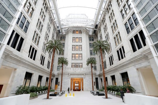 An atrium built around and connected to the original Northwestern Mutual building features real palm trees that have been preserved in the Northwestern Mutual Life Insurance Co. Tower and Commons skyscraper in Milwaukee.