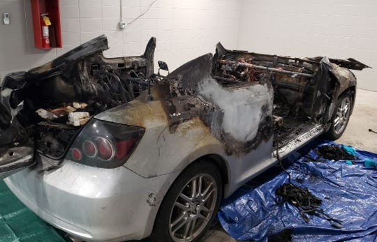 This silver Toyota is one of two cars that were burnt in what police believe is a suspected arson case on Feb. 6.