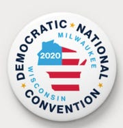A team from Zero Studies, which has offices in Milwaukee and New York, designed a button for the 2020 Democratic National Convention in Milwaukee.