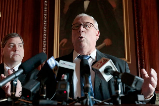 Sen. Luther Olsen, R-Ripon, speaks during a state Capitol news conference about a new accountability system for schools in this Jan. 13, 2015, photo. The longtime Republican state lawmaker said Monday that he will not seek re-election.