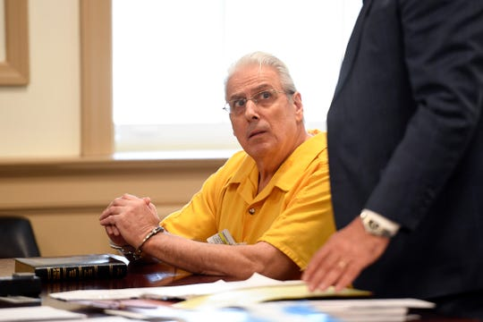 Thomas Thomasevich, left, attends his hearing before Judge David Ironson in Morris County Superior Court on Monday, Feb. 24, 2020, in Morristown. Thomasevich, 70, is accused of Òcommitting acts of sexual contactÓ on two female students while working as a driver for First Student Bus Company.