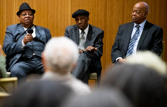 St. John Dixon, from left, James McFadden and Joseph Peterson speak as surviving members of the 1960 Alabama State University student lunch counter sit-In protest are honored on the 60th anniversary of the event during a ceremony on the ASU campus in Montgomery, Ala., on Monday February 24, 2020.