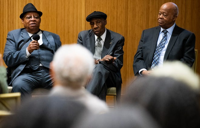 St. John Dixon, from left, James McFadden and Joseph Peterson speak as surviving members of the 1960 Alabama State University student lunch counter sit-in protest are honored on the 60th anniversary of the event during a ceremony on the ASU campus in Montgomery, Ala., on Monday.