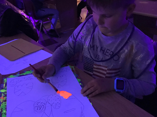 A $432 Robert P. Bell Education grant, awarded in late 2019, covered the cost of black lights and glowing art supplies for North View Elementary art teacher Sarah Moser's porject, which had students create jungle-inspired art to be displayed at a family-oriented, interactive art show.