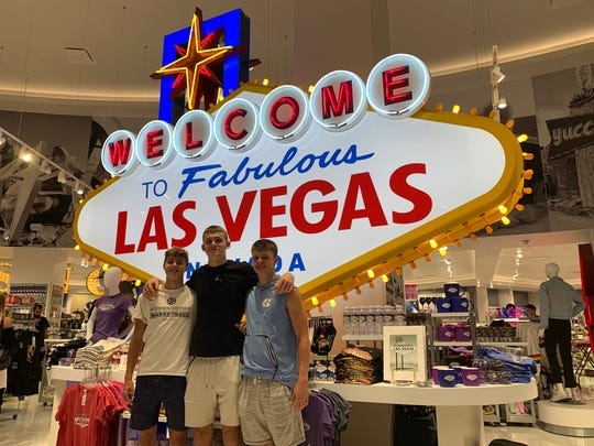 Jake Kinsey (left), Brady Hunt (center) and William Grieser (right) played AAU basketball for Hayward Hoops 2021 this past summer. One of their tournaments was held in Las Vegas.