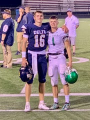 Brady Hunt (left) and William Grieser (right) both play quarterback for their respective high school teams. Hunt and Delta captured this matchup that took place Sept. 27, 2019, with a 42-0 win.