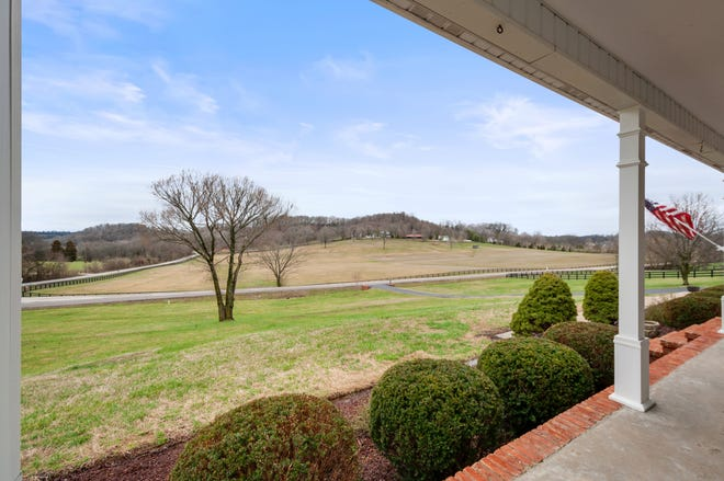 The view from the front porch may be the greatest selling point of the home at 1999 Evergreen in Thompson's Station.
