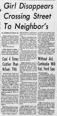 News of Marcia Trimble's disappearance made the front page of The Tennessean on Feb. 26, 1975.