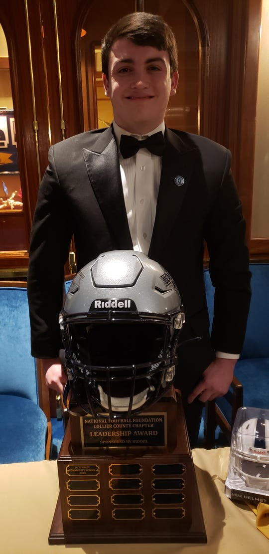 Community School senior Jack Wiley received the inaugural Leadership Award sponsored by Riddell at the Collier County chapter of the National Football Foundation Scholar-Athlete Awards Dinner on Sunday, Feb. 23, 2020, at the Naples Sailing & Yacht Club.