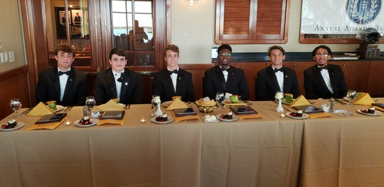 Six of the scholarship winners at the Collier County chapter of the National Football Foundation's third annual Scholar-Athlete Awards Dinner on Sunday, Feb. 23, 2020, at the Naples Sailing & Yacht Club. From left: Barron Collier's Drew Powell, Community School's Jack Wiley, First Baptist's Joey Stover, Golden Gate's Richard Francois, Gulf Coast's Justin Mattia, Immokalee's Frankie Alameda.