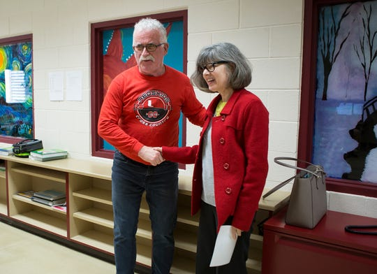 Utica teacher John Maher was surprised in his classroom with one of the Tibbie Leslie Travel Grants awarded by Connie Hawk of the Licking County Foundation. Maher, who teaches business and accounting among other things will use the grant money to travel to Ireland to see how Brexit will affect the economy.
