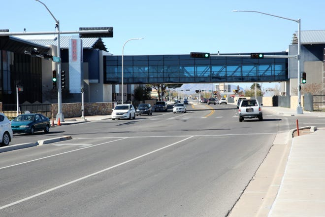 Las Cruces High School's overpass on El Paseo Road, seen on Feb. 24, 2020.