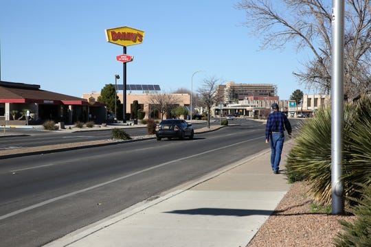El Paseo Road could see a trolley bus system connecting University Avenue and the NMSU campus to Main Street and the gateway to downtown Las Cruces, in a concept the Las Cruces City Council mulled on Monday. S. Main Street near El Paseo, seen on Monday, Feb. 24, 2020.
