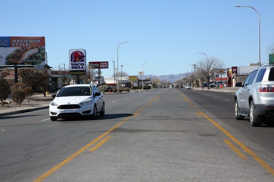 El Paseo Road could see a trolley bus system connecting University Avenue and the NMSU campus to Main Street downtown, in a concept the Las Cruces City Council mulled on Monday. El Paseo north of E. Boutz Road, seen on Monday, Feb. 24, 2020.