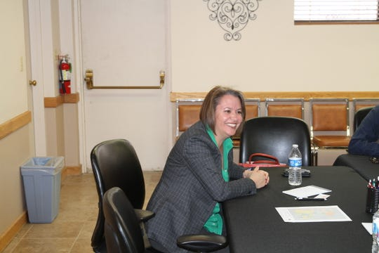 New Mexico Public Lands Commissioner Stephanie Garcia Richard speaks to area Alamogordo residents about the future of the public lands commission.