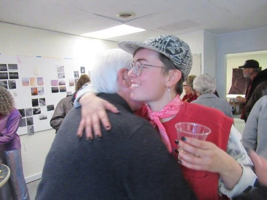 Cartoonist and author Rick Geary (left), greets artist Mad Bee at the gallery event in Carrizozo