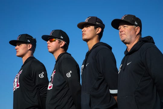 From right: Coach Mike Woods, Tyler Wilson, Michael Brueser and Brock Selvidge, February 17, 2020, at the Hamilton High School baseball field, 3700 S Arizona Ave., Chandler.