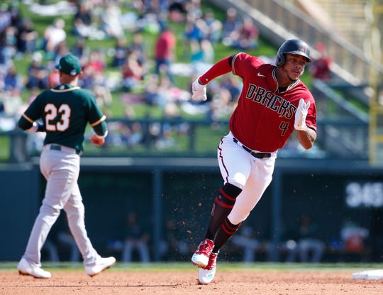 Arizona Diamondbacks second baseman Ketel Marte (4) runs the bases against the Oakland Athletics during spring training at Salt River Fields at Talking Stick Feb. 23, 2020.