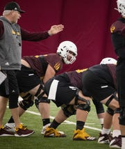 Kellen Diesch (center, offensive line) during spring practice, February 24, 2020, at Kajikawa Practice Facility, 511 S. Rural Road, Tempe.