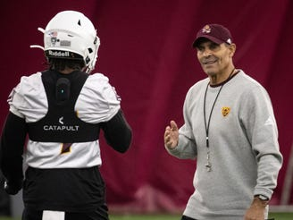 Head coach Herm Edwards during spring practice, February 24, 2020, at Kajikawa Practice Facility, 511 S. Rural Road, Tempe.