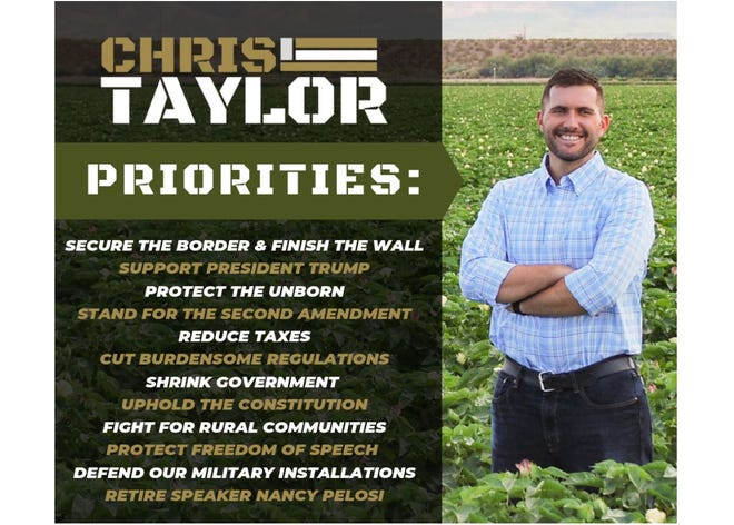 A screenshot from the website of Safford City Councilman Chris Taylor, who has suspended his campaign for Congress.
