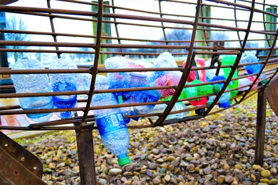 Port Clinton's first recycling fish is already collecting bottles.