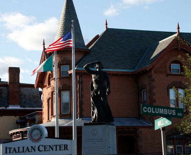 The Christopher Columbus statue at the Poughkeepsie Italian Center on Mill Street on October 4, 2019.