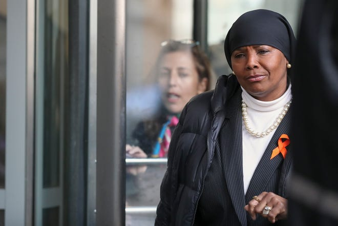 Former State Rep. Movita Johnson-Harrell exits the Stout Center for Criminal Justice on Thursday, Jan. 23, 2020. Johnson-Harrell pleaded guilty after being charged with stealing more than $500,000 from her nonprofit, Motivations Education & Consultation Associates.