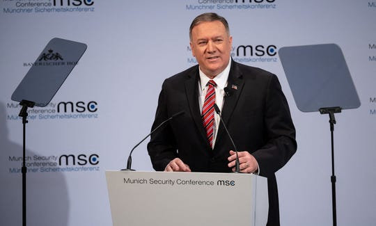 Mike Pompeo, U.S. Secretary of State, speaks on the second day of the 56th Munich Security Conference on Saturday, Feb. 15, 2020, in Munich. (Sven Hoppe/dpa/Abaca Press/TNS)