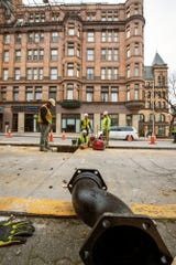 Replacement of a water main from the 1890s continues on South George Street near Continental Square in York.