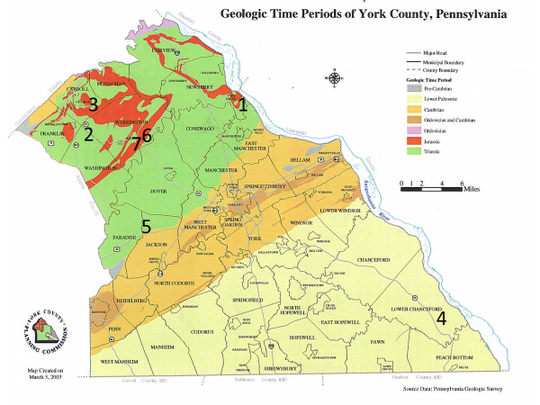 This map shows the sites of recent seismic activity in York County, Pa.