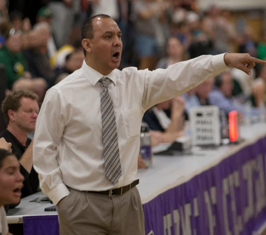 Spanish Springs girls basketball coach Art Cardenas coaches against Bishop Manogue on Feb. 22