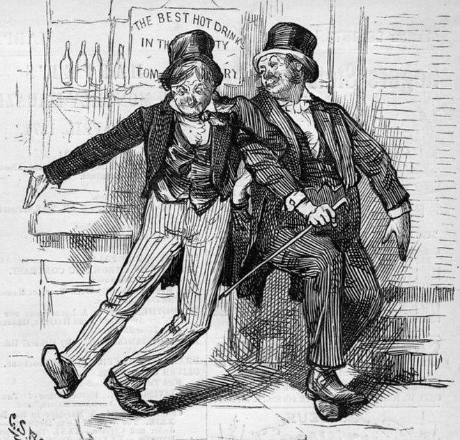 A depiction of drunken men