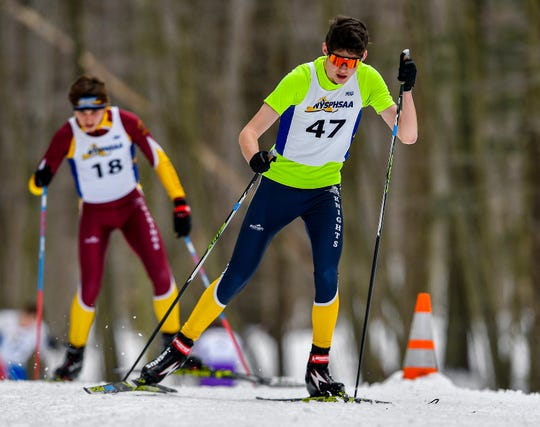 Pittsford Sutherland's Rylan Hodgson (47) wins the boys individual state title during the NYSPHSAA Nordic Skiing Championships at Harriet Hollister Spencer State Recreation Area on Monday