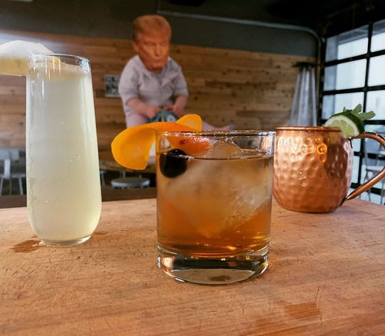 1859 Cider Co.'s fourth annual Not My Presidents Day party featured signature cocktails dubbed the Old Fascist, the Moscow Mitch and the Cowardly Collins.