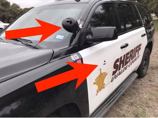 A Uvalde County Sheriff's Office vehicle was shot at after a traffic stop on Saturday, Feb. 22, 2020.