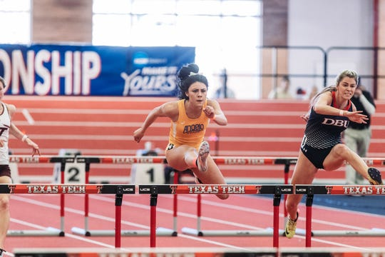 Angelo State University's Faith Roberson competes in the 60-meter hurdles. Roberson is a former standout for Wall High School.