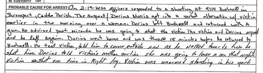 Pictured is the probable cause statement on the arrest affidavit charging Darius Morris with attempted murder. Morris, a Shreveport police officer, was off duty when he was allegedly involved in a shooting that injured a man in the leg.