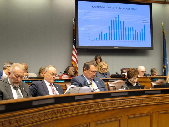 Lawmakers on the Joint Legislative Committee on the Budget follow along with the presentation of Gov. John Bel Edwards' budget proposal for next year, on Friday, Feb. 7, 2020, in Baton Rouge, La.