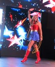 Krewe des Ambassadeurs-Minden Princess  - Superhero Wonder Woman - Carrigan Wiggins takes the stage.