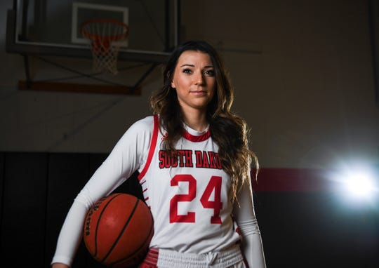 USD's Ciara Duffy (24) poses for portrait on Tuesday, Feb. 18, 2020 in Vermillion, S.D.