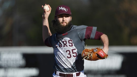 Missouri State pitcher Logan Wiley throws a pitch against Central Arkansas during an NCAA baseball game on Friday, Feb. 14, 2020, in Conway, Ark. (AP Photo/Michael Woods)