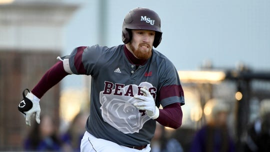 Missouri State baserunner Ben Whetstone tries to beat the throw to first base against Central Arkansas during an NCAA baseball game on Friday, Feb. 14, 2020, in Conway, Ark. (AP Photo/Michael Woods)
