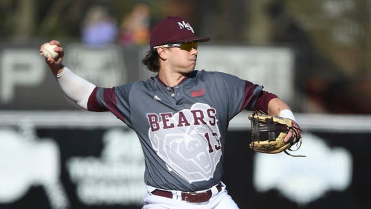 Missouri State's Grant Wood throws to first base against Central Arkansas during an NCAA baseball game on Friday, Feb. 14, 2020, in Conway, Ark. (AP Photo/Michael Woods)