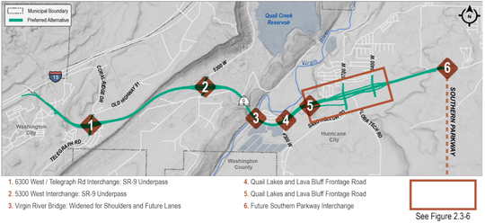 Map of what the preferred alternative would look like connecting I-15 to the incoming Southern Parkway connection.