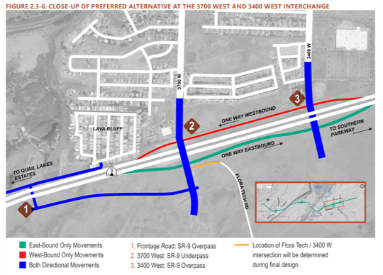 Close up map of the preferred alternative at 3700 West and 3400 West interchange in Hurricane.