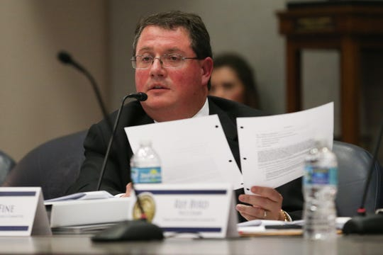 Rep. Randy Fine questions Former Florida Coalition Against Domestic Violence (FCADV) Board Chair Melody Keeth on a pair of memos during a meeting of the Florida House Public Integrity & Ethics Committee where members of the FCADV board were publicly interviewed as part of an investigation into the board's mismanagement Monday, Feb. 24, 2020.